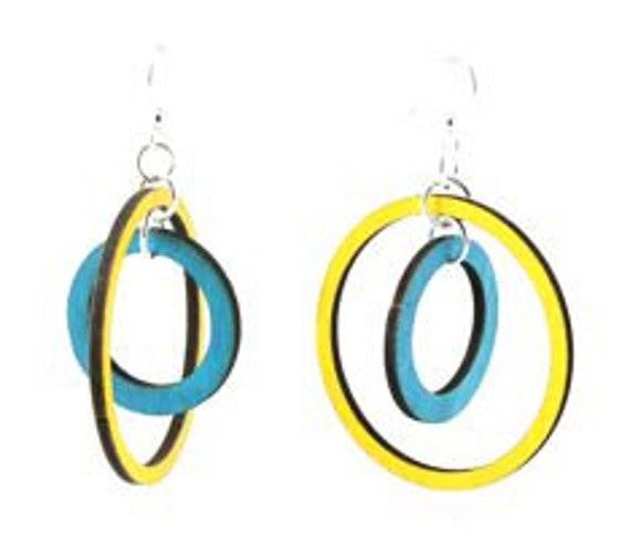 Orbiting Circles - Laser Cut Wood Earrings from Sustainable Resources