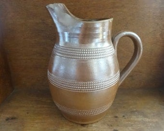 Vintage French Brown Pottery Stoneware Jug Pitcher Decanter Water Wine circa 1960-70's / English Shop