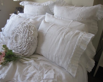 White linen pillowcases- French Country home - shabby cottage chic- standard queen King Pillowcases- Turkish romantic bedding pillow