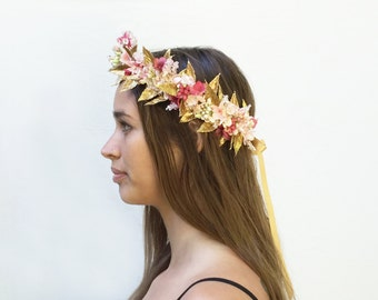 Blush Pink And Gold Renaissance Flower Crown, Gold Leaf Headband, Gold Leaf Crown, Goddess Headpiece, Gold Crown, Fairy Flower Crown, Fae