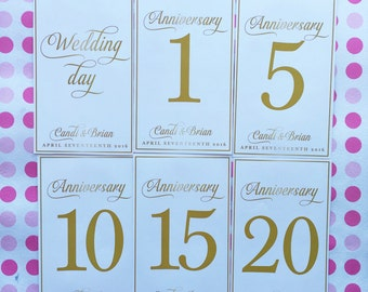 Customizable Anniversary Wine Bottle Labels