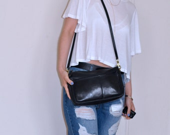 Black Vintage Leather Minimalst Rectagle Coach
