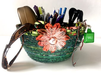 Coiled Rope Basket in Green and Rust - Sophisticated Clothesline Organizer Catchall - Clutter Keeper - Functional Fiber Art - Handmade Quilt