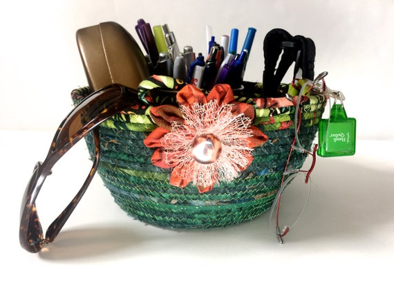 Handmade Nylon Basket : Coiled rope basket in green and rust sophisticated