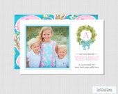 Lilly Inspired Pink & Aqua Preppy Beach Photo Christmas Card