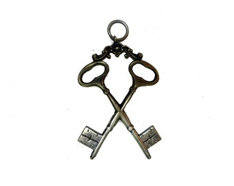 Antique Victorian Silver Crossed Key Masonic Pendant