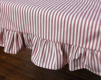 Ruffled Stripe Red and White Ticking Table Runner