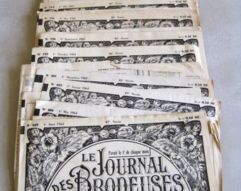 12 Vintage French Les Journal Des Brodeuses Embroidery Pattern Magazines 1960 to 1962 Collectors Magazine or For Use