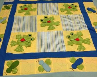 Baby Quilt / Baby Blanket / Handmade Quilt / Frog Quilt / Baby Shower Gift / 3D/ Frog Pocket/Animal Quilt
