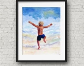 Beach Boy Art Print, Watercolor Beach Boy, Nursery Wall Art, Surf Boy Art, Florida Beach Painting, Childs Room Decor, Seashore Nursery Decor