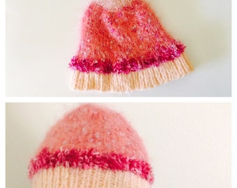 Pink Hat/Beanie, Multi Tone, Knit Woman Accessory, Hand Made in the U S A, tem no. BDE002