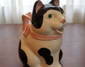 Fitz Floyd Cat Pitcher Black White with Pink Ribbon Vintage Rare!