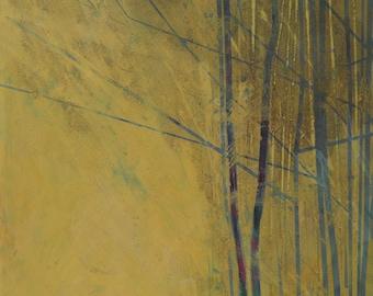 Original abstract tree painting - Spring saplings