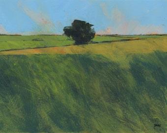Original minimalist abstract landscape painting - Lone hedgerow tree