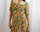 70's Designer Leslie Fay Crochet And Cotton Floral Dress A-Line Mu Mu Dress Summer Fashion