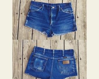Vtg 70s Cut Off Wrangler High Waist Denim Cheeky Shorts