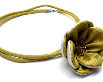 Fabric rose necklace gold and silver colour - christmas jewel gift for her combinatable long necklace or short necklace fabric jewel