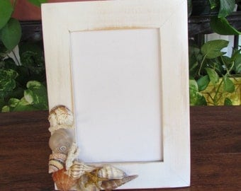 Beach Cottage Picture Frame with Seashells