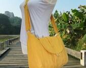 Holiday On Sale 10% off Golden canvas messenger bag / shoulder bag / everyday bag / diaper bag / cross body bag 6 pockets