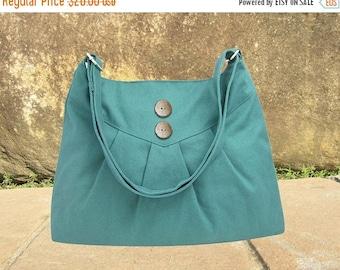 Summer Sale 10% off Teal green cross body bag / messenger bag / shoulder bag / diaper bag  - cotton canvas