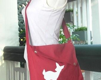 Holiday On Sale 10% off red cotton canvas messenger bag / shoulder bag / deer messenger /diaper bag / fawn sewn