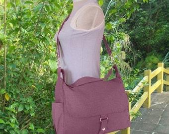 Holiday On Sale 10% off Purple canvas shoulder bag, messenger bag, diaper bag, travel bag, womens purse