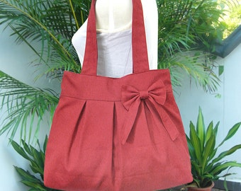 Red canvas travel bag / tote bag / shoulder bag /diaper bag / bow canvas purse / zipper closure