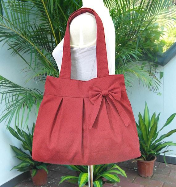 Red canvas travel bag / tote bag / shoulder bag /diaper bag / bow canvas purse / zipper closure