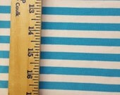 """Turquoise and white  3/8"""" Cotton Lycra Knit FAbric"""
