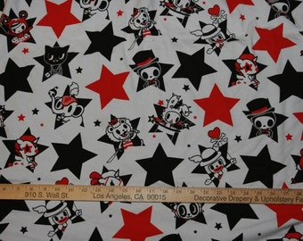 Awesome Unicornic Cartoon Characters with Black and Red Stars Cotton Lycra Knit FAbric