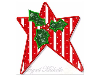 Holly Star Applique - 3 Sizes, Machine Embroidery