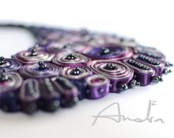 Statement necklace purple, bib necklace, Cloud Design Collection - Textile jewelry OOAK for order