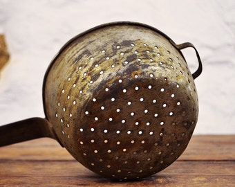 Primative French Colander metal pan shabby rustic country kitchen photo prop