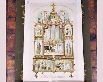 1921 Antique French communion confirmation baptism certificate lithgraph print Paris