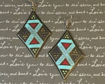 Aqua tribal shield earrings
