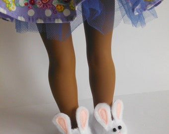 Wellie Wisher Slippers; Wellie Wisher Shoes; Slippers fit American Girl Wellie Wisher; Bunny Slippers for Wellie Wishers; Bunny Slippers