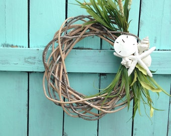 Twisted Reed Wreath with Starfish and Shells