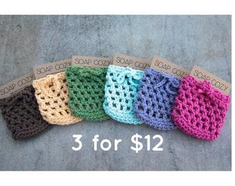 Soap Savers, Soap Cozy, Crochet Soap Saver set, Cotton Soap Sack, Cotton Soap Holder, gift set, soap gift