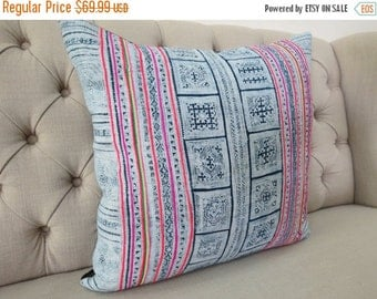 "ON SALE, Vintage 22""By22, Cushion covers Indigo batik Hmong Pillow case, Handwoven Hemp Fabric,"