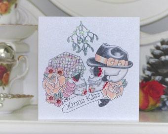 Sugar Skulls Kissing Under Mistletoe Tattoo Handmade Christmas Card