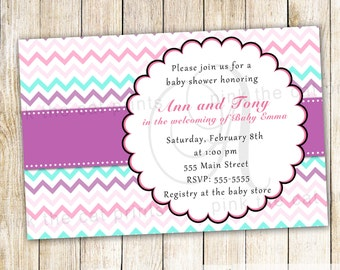 Purple Chevron Invitation - Turquoise Pink Baby Girl Shower Personalized Printable