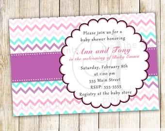 Purple Turquoise Invitation - Turquoise Pink Invitation Girl Baby Shower Invitation Purple Turquoise Baby Shower Printable Shower Invite