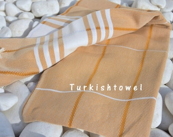 Turkishtowel-Soft-Hand woven,warp&weft cotton Bath,Beach,Travel,Light Weight Towel-Point twill pattern,Natural Cream stripes on Mustard