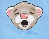 Original Ferret Mini Painting, ACEO, Trading Card, Shelly Mundel Art