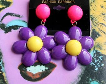 1980s Purple GROOVY Earrings...retro accessories. daisy. pierced. dainty. mod. classic. 80s earrings. mod. twiggy. big earrings. wedding