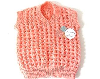 Hand Knit Vest, knit sweater vest, baby knit vest, toddler knit vest, boys knit vest, baby shower gift, new baby gift, girls knit vest