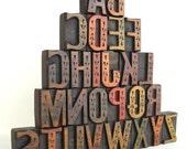 """A to Z - Vintage Letterpress Designer Wood Type Collection - 2"""" High- LP40"""