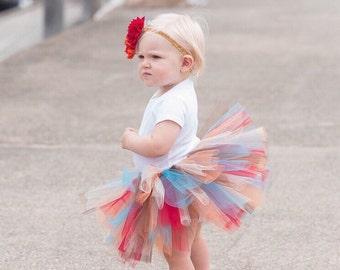 Bright Fall Baby Tutu and Flower Headband - Fall Colors Tutu - Autumn Baby Tutu