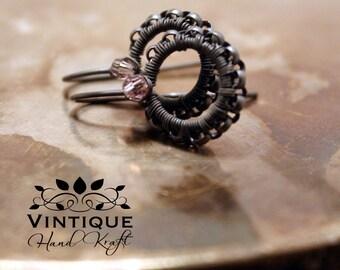 Sterling Silver Earrings - Pink Swarovski bead - Vintage Pink
