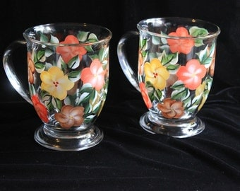 Hand Painted Coffee Mugs, Earth-tone Floral